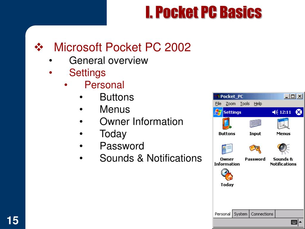 I. Pocket PC Basics
