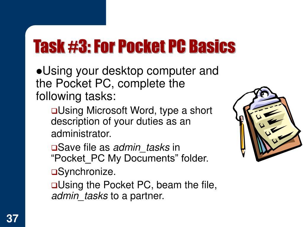 Task #3: For Pocket PC Basics