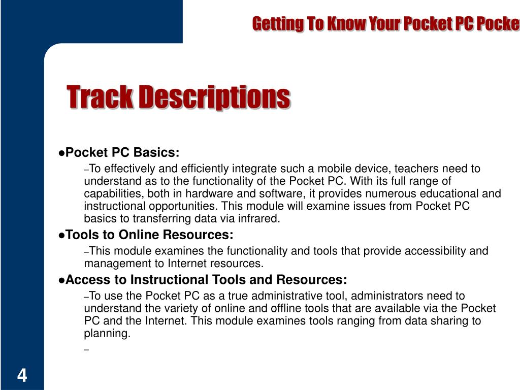 Getting To Know Your Pocket PC Pocket PC