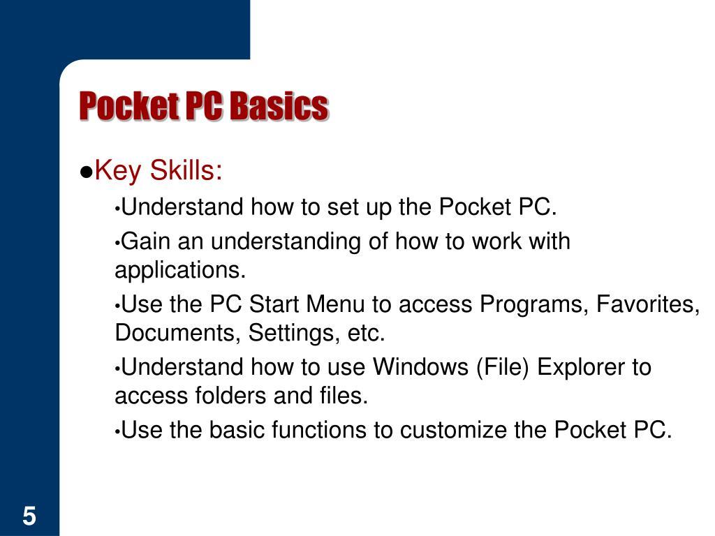 Pocket PC Basics