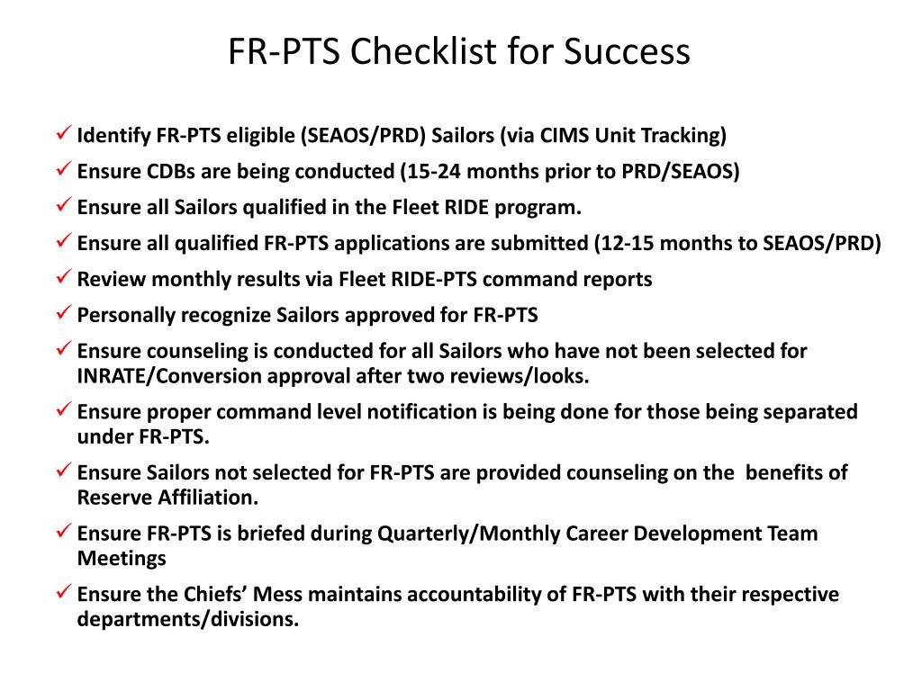fr pts checklist for success l.