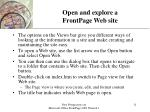 open and explore a frontpage web site