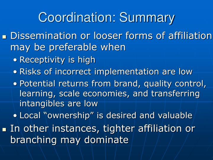 Coordination: Summary