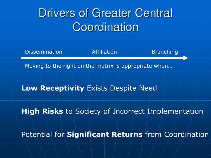 Drivers of Greater Central Coordination