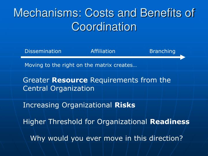 Mechanisms: Costs and Benefits of Coordination