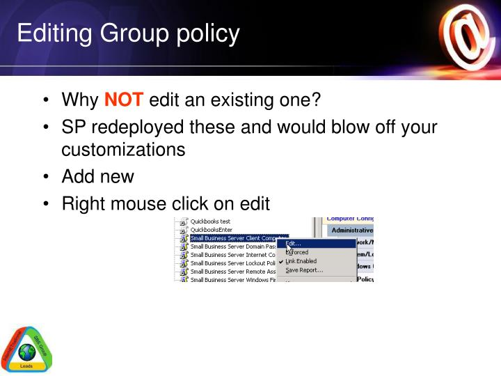 Editing Group policy