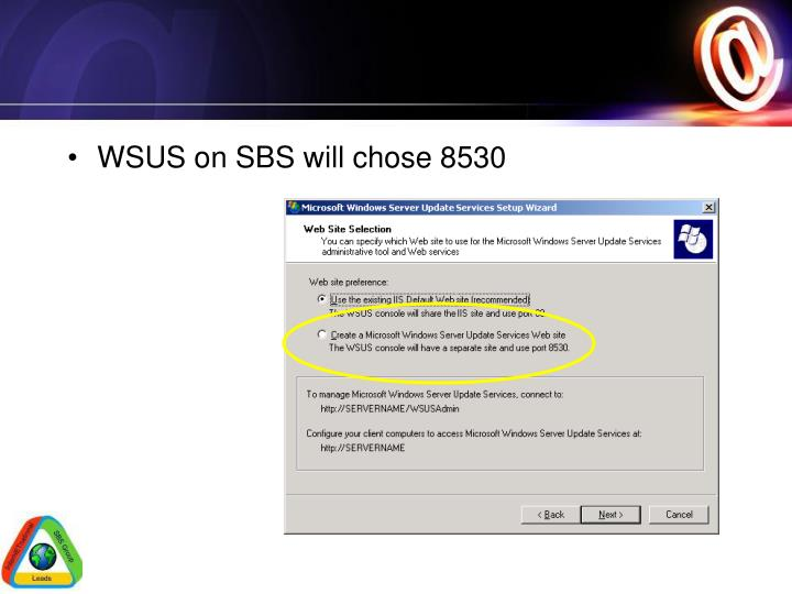 WSUS on SBS will chose 8530