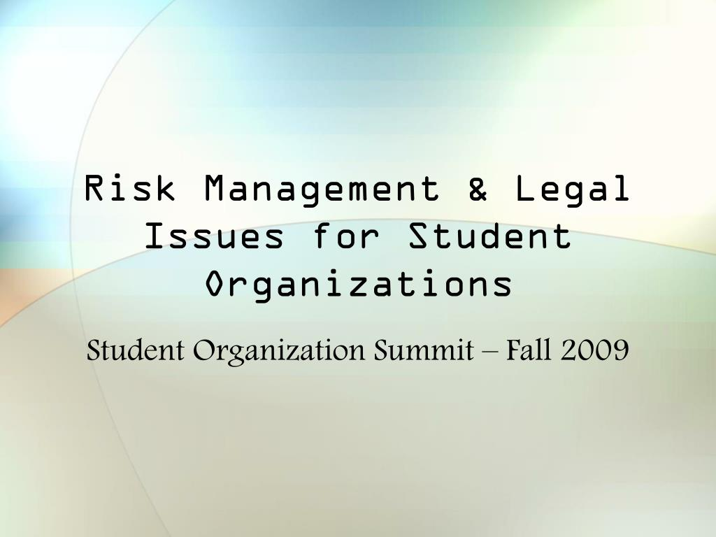 risk management legal issues for student organizations l.