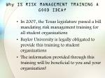why is risk management training a good idea