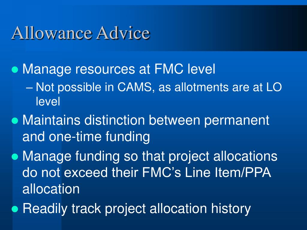 Allowance Advice