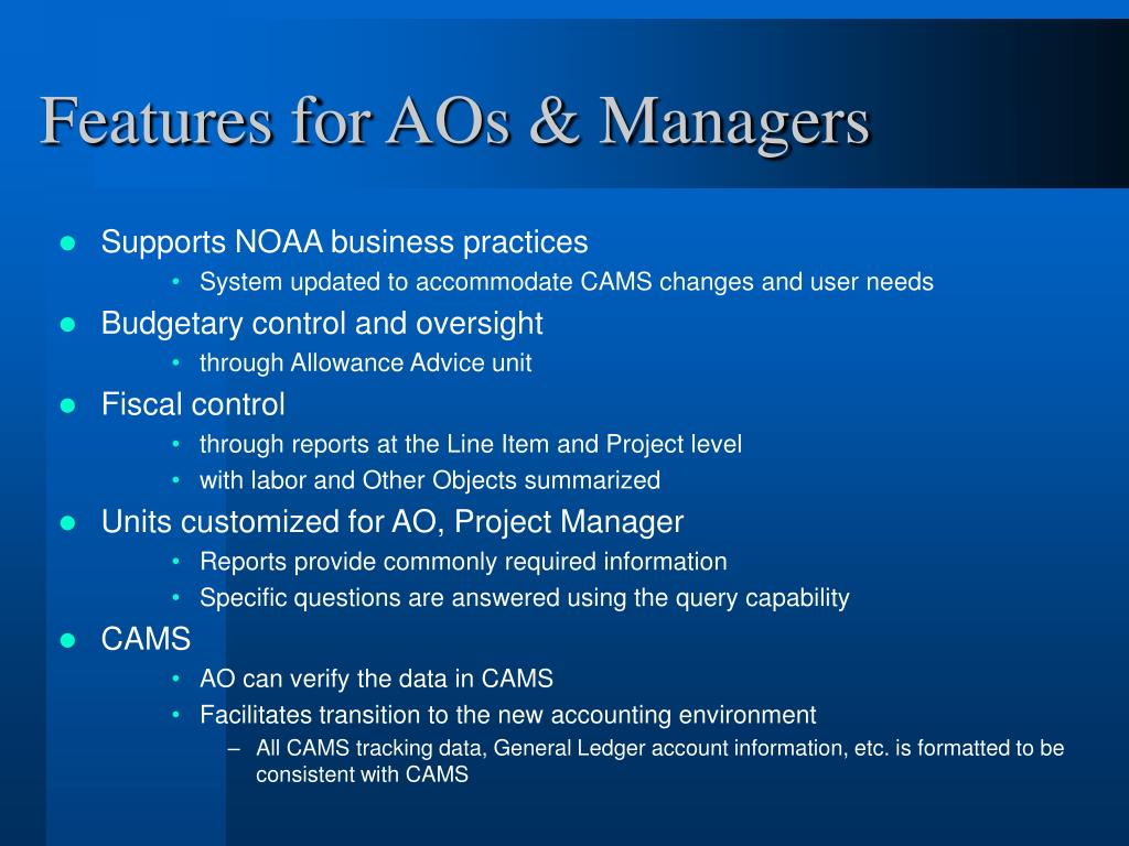Features for AOs & Managers