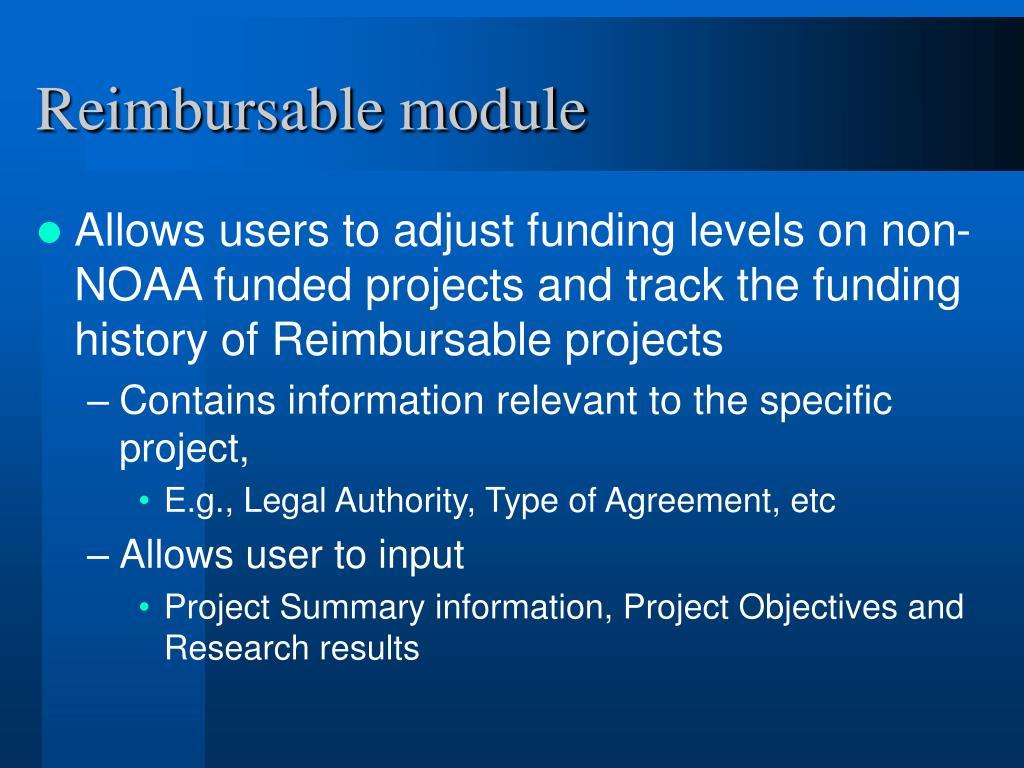 Reimbursable module