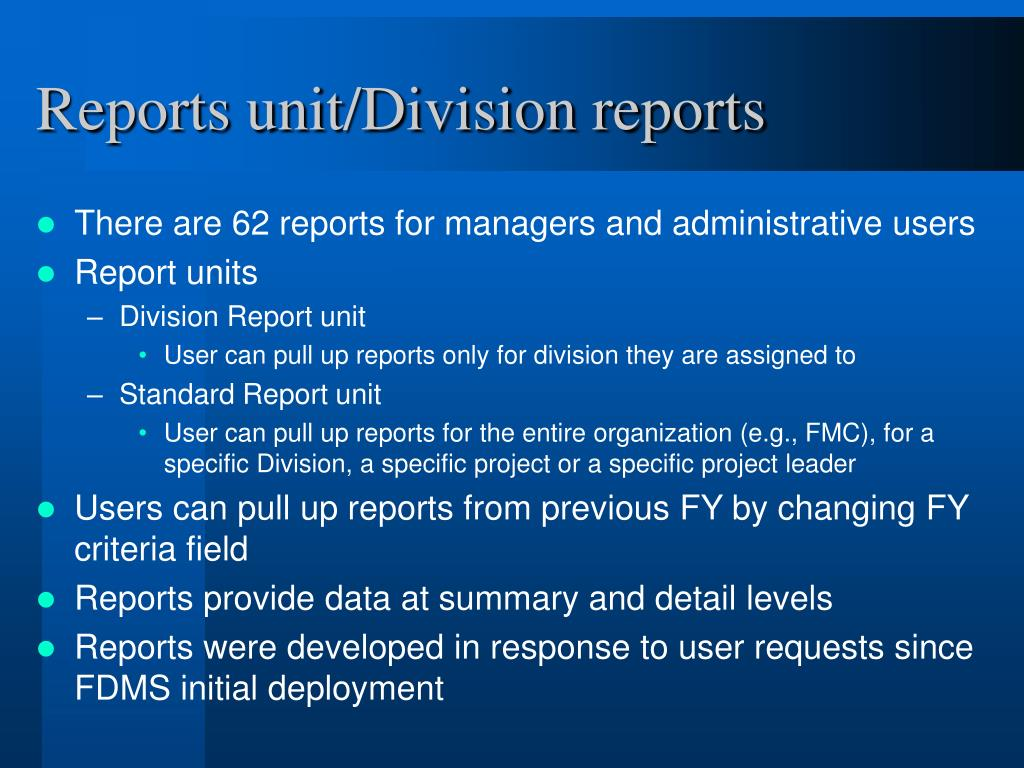 Reports unit/Division reports