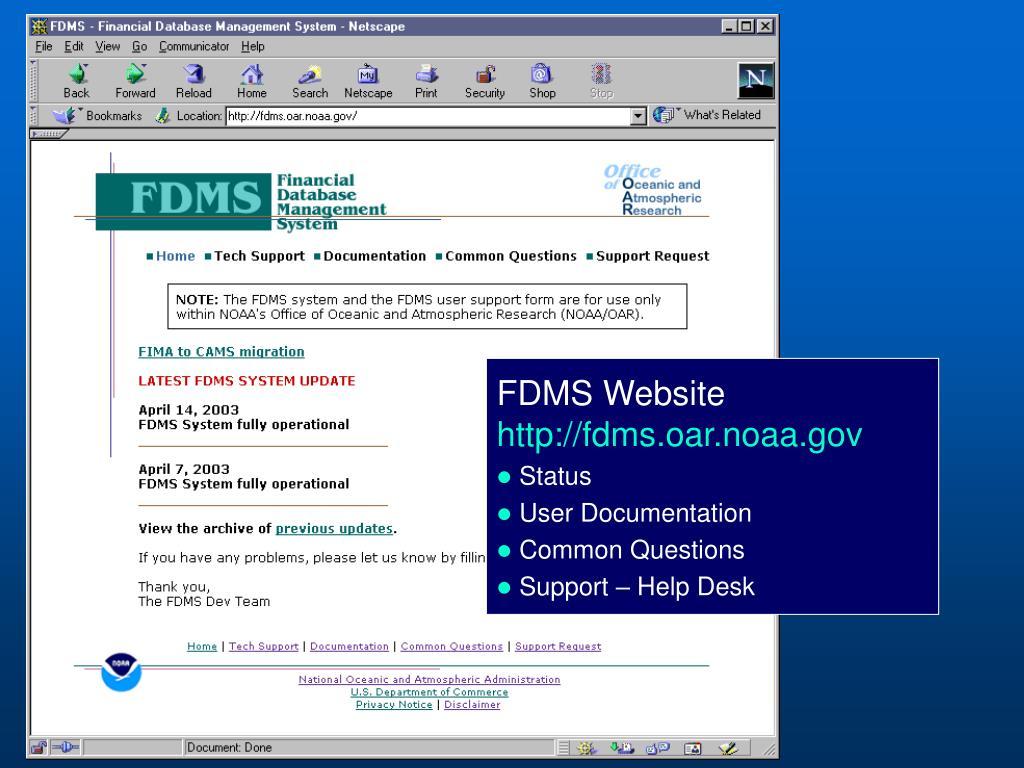 FDMS Website