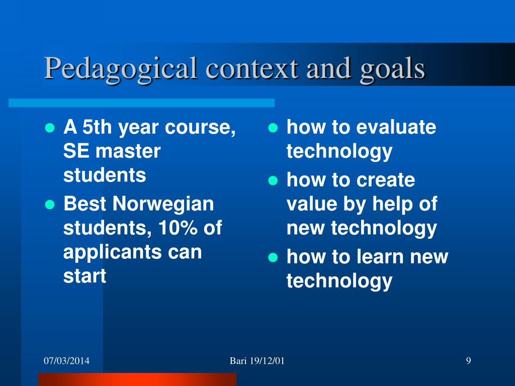A 5th year course, SE master students