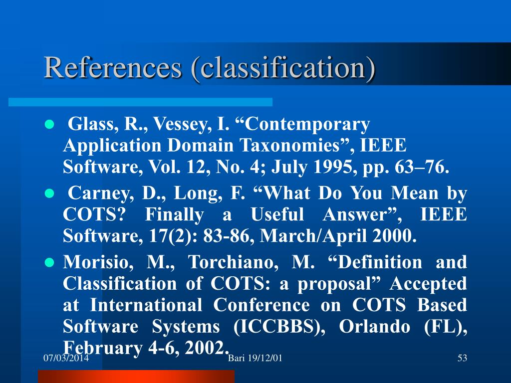 References (classification)