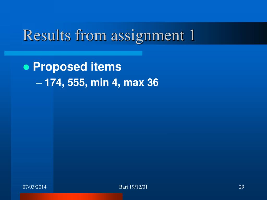 Results from assignment 1