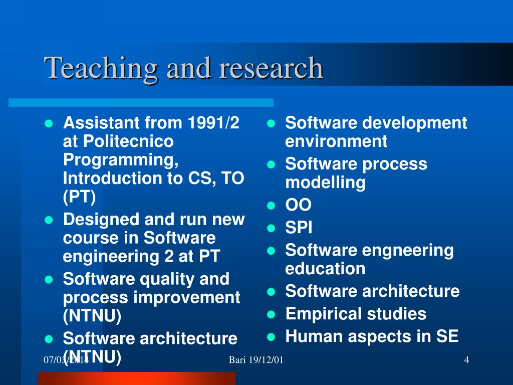 Assistant from 1991/2 at Politecnico Programming, Introduction to CS, TO (PT)
