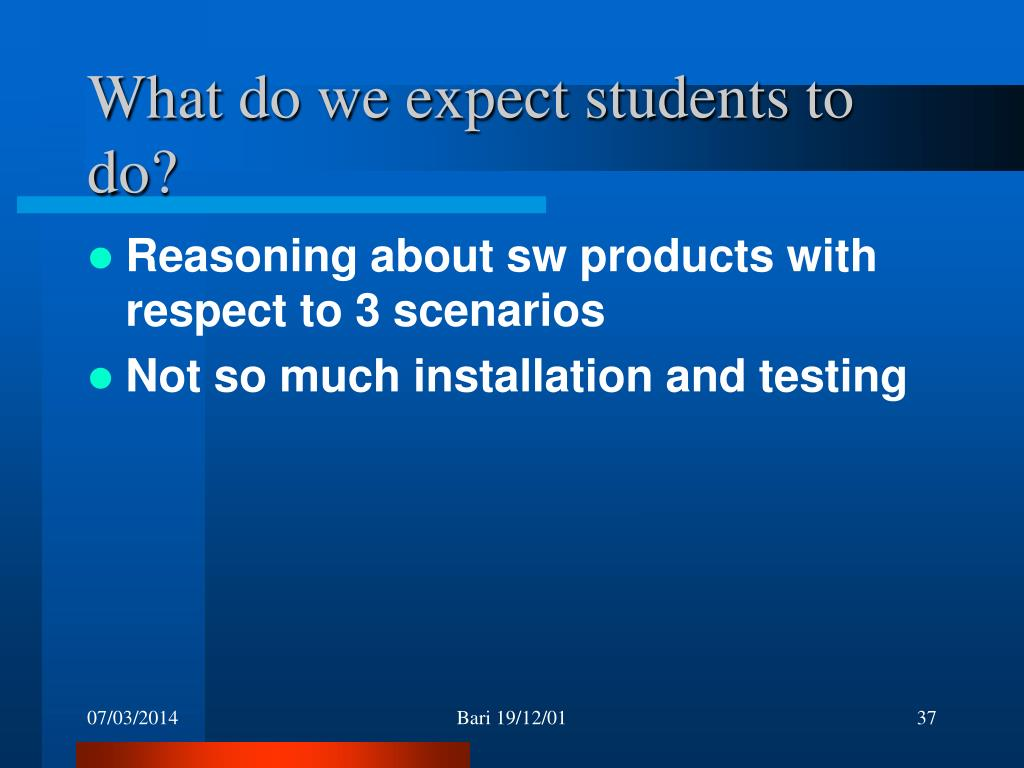 What do we expect students to do?