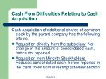 cash flow difficulties relating to cash acquisition