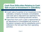cash flow difficulties relating to cash sale of part of investment in subsidiary