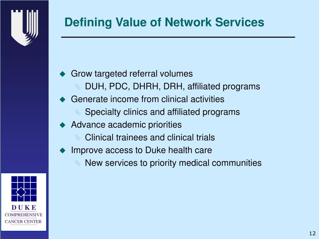 Defining Value of Network Services