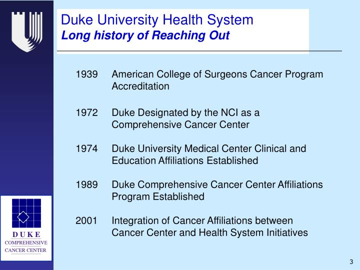 Duke university health system long history of reaching out