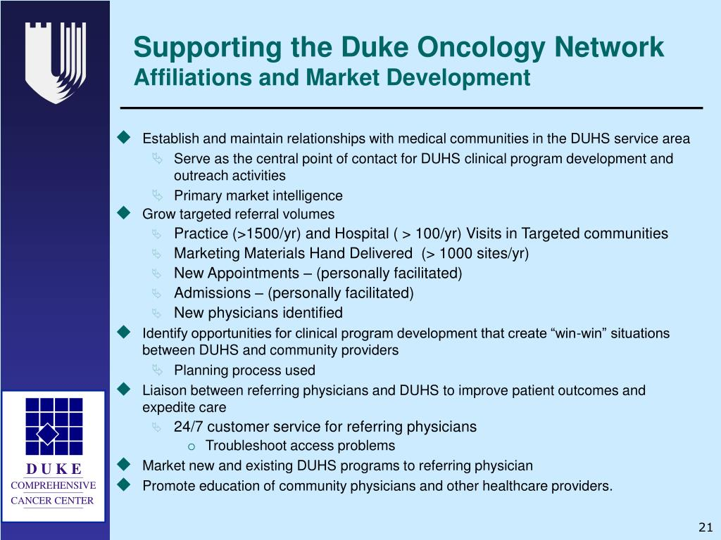 Supporting the Duke Oncology Network