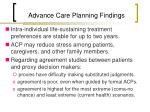 advance care planning findings