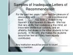 samples of inadequate letters of recommendation