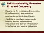 self sustainability refractive error and optometry