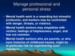 manage professional and personal stress