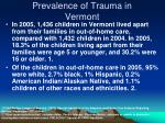 prevalence of trauma in vermont