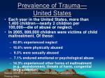 prevalence of trauma united states