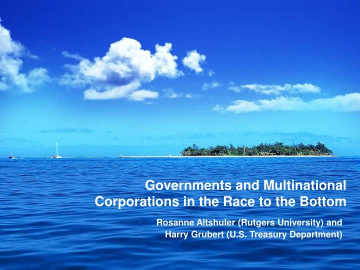governments and multinational corporations in the race to the bottom n.