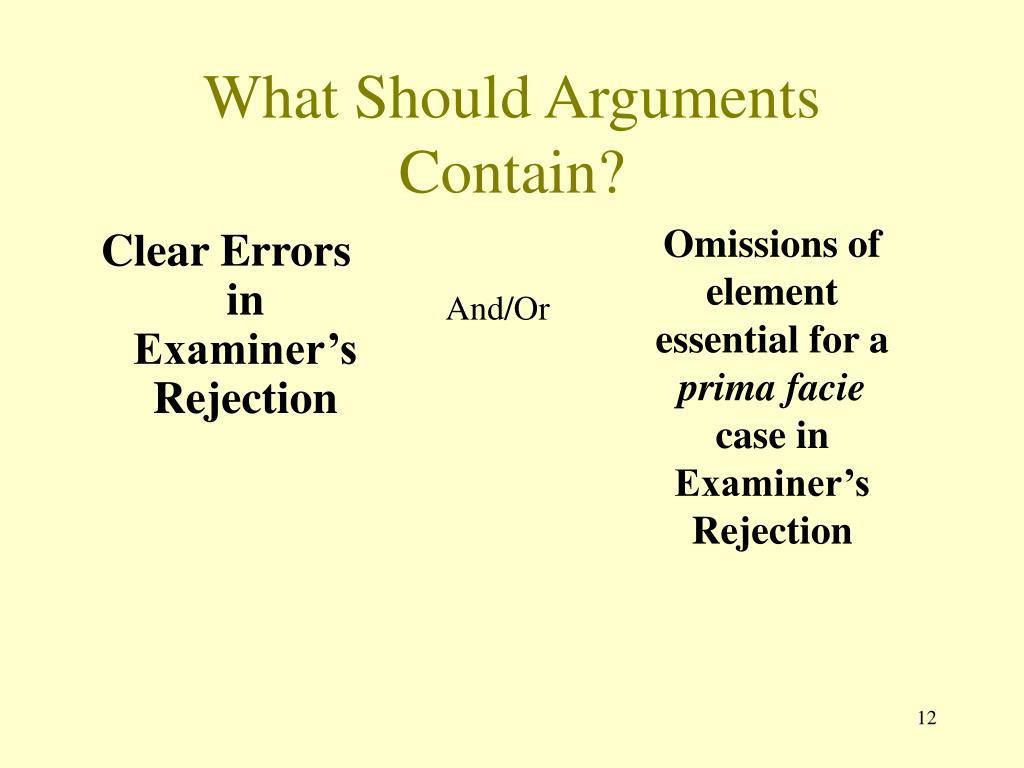 What Should Arguments Contain?
