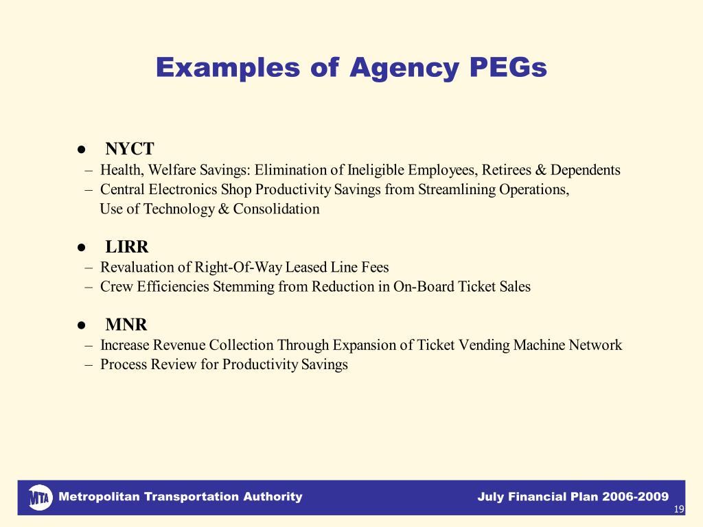 Examples of Agency PEGs