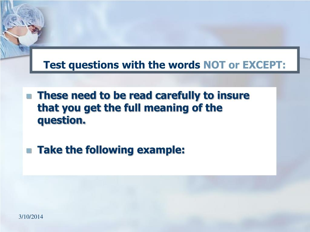 Test questions with the words