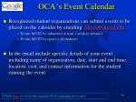 oca s event calendar