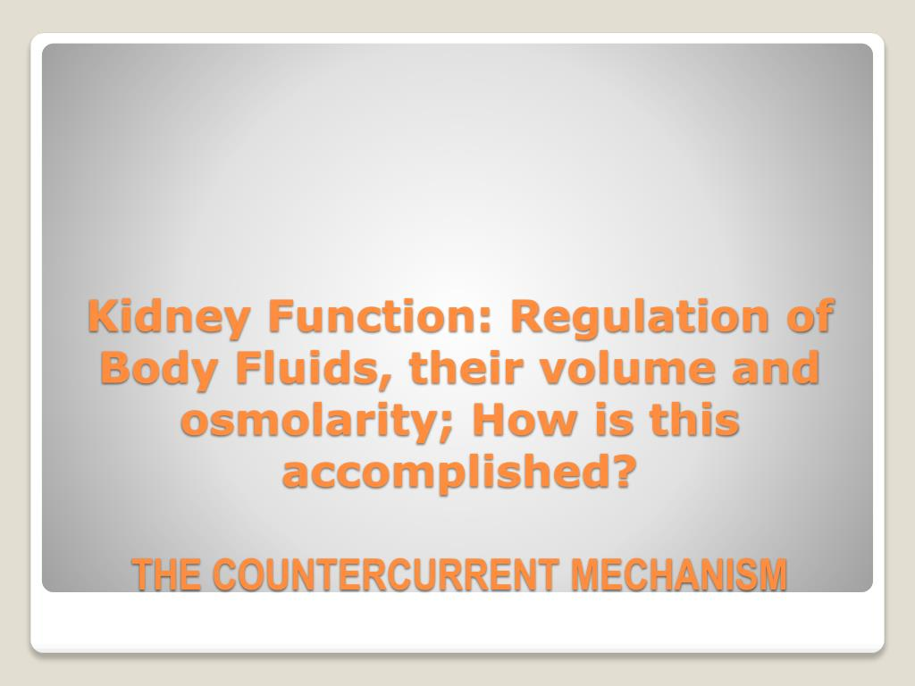 Kidney Function: Regulation of Body Fluids, their volume and osmolarity; How is this accomplished?