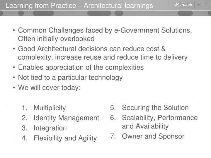 Learning from Practice – Architectural learnings