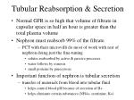tubular reabsorption secretion
