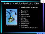 patients at risk for developing cipn4