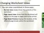 changing worksheet views