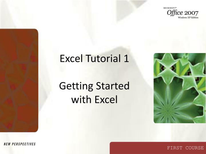 excel tutorial 1 getting started with excel n.