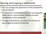 moving and copying a worksheet