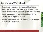 renaming a worksheet