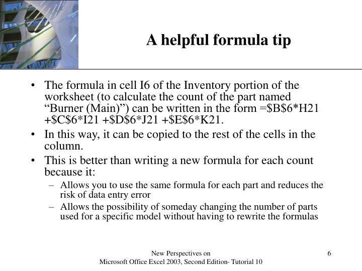 A helpful formula tip