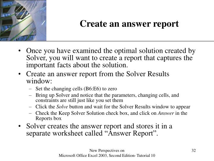 Create an answer report
