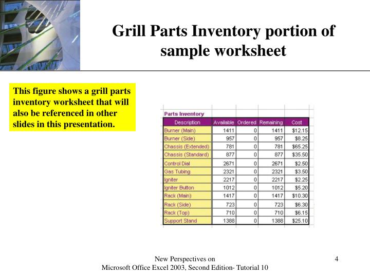 Grill Parts Inventory portion of sample worksheet